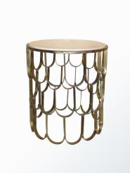 FISH SCALE SIDE TABLE ANTIQUE GOLD