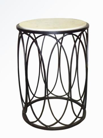IRON FLORAL SIDE TABLE BLACK