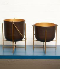 Old Bronze Candle Pots with Wax Infill. Also available in Antique Gold Large 290mm (H) Medium 240mm (H)
