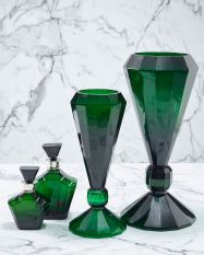 Diamond Jade Green Cut Glass Vases Tall 610mm (H) Med 480mm (H) Deco Jade Green Cut Glass Decanters