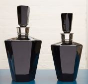Gulerian Cut Glass Smoke Black Decanters. Large 305mm (H) Medium 290mm (H)