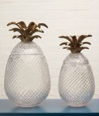 Cut Glass Pineapples with Metal Fronds Tall 450mm (H) Med 390mm (H)